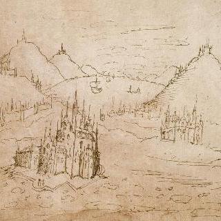 요새와 고딕식 성당들로 둘러싸인 호수가 있는 산의 풍경