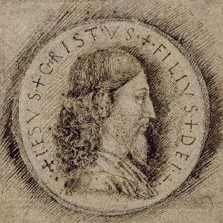 메달의 오른쪽 계획안 : 우측 방향의 그리스도의 상반신 측면 초상