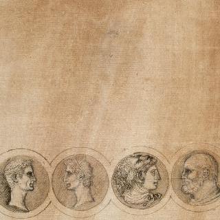 남자들의 두상이 있는 네 개의 원형저부조와 두 명씩 서로 마주보고 있는 옆모습