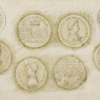 화폐와 알퐁스 5세 다라공의 네 개의 메달 뒷면