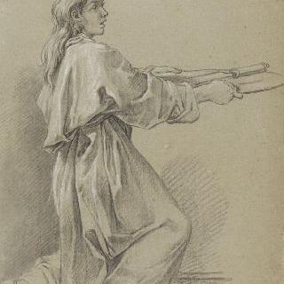 칼을 들고 있는 무릎꿇은 젊은 사제