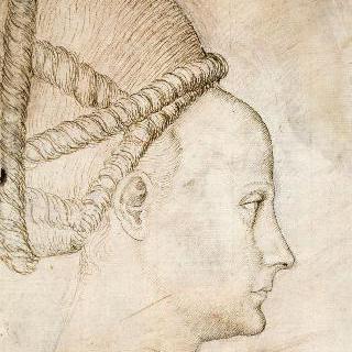 우측 방향의 젊은 여인의 측면 두상