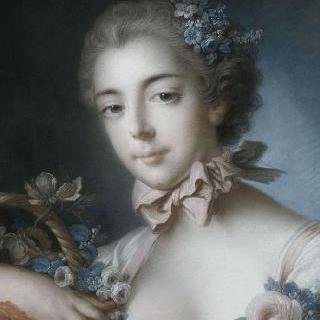 꽃바구니에 기댄 젊은 여인의 초상