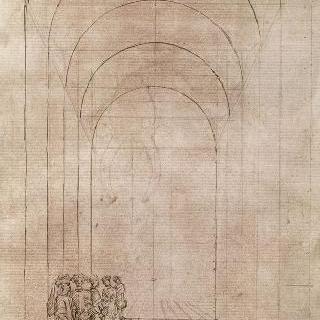 궁륭형의 건축물 안의 서 있는 다섯 남자들의 전경