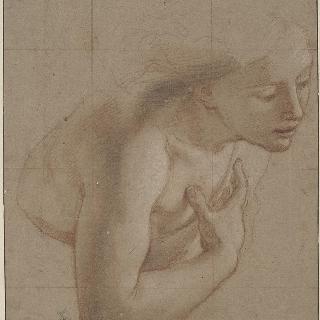 오른쪽으로 몸을 돌린 나체 여자의 반 형상, 오른편 위로 손을 올려 놓고 있다