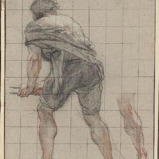 등쪽에서 본 몸을 굽힌 남자 ; 다시 그린 오른쪽 다리