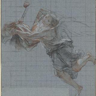 십자가를 받치고 왼쪽으로 날고 있는 천사 이미지