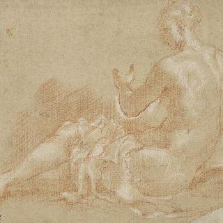 바닥에 앉아있는 나체의 젊은 여인 : 나이아스