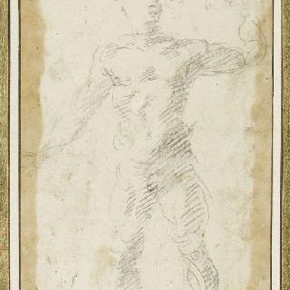 서 있는 남자의 정면 누드 이미지