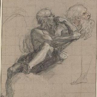 앉아 있는 사투르누스 ; 발과 머리 재현