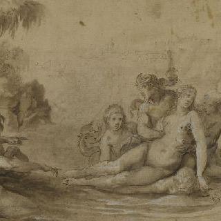 바다에서 이노와 글라우쿠스의 영접을 받는 실멘느
