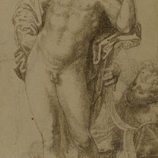 리라에 팔을 괴고 서 있는 나체의 아폴론과 또 다른 형상