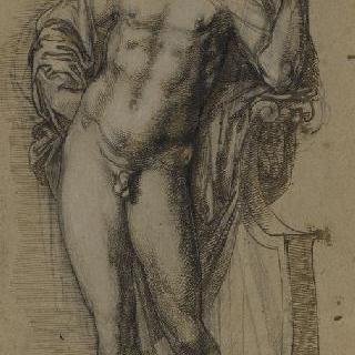 리라에 팔을 괴고 서 있는 나체의 아폴론