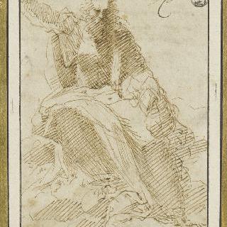 지구 원구를 든 구름 위의 앉아있는 하느님 아버지