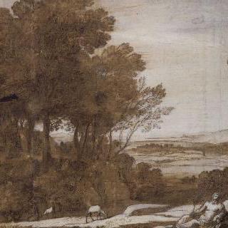 리라를 연주하는 아폴론이 있는 풍경