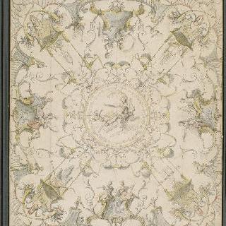 천정의 아라베스크 양식 : 중앙에는 아폴론이 구름을 타고 앉아 있다