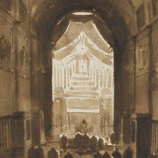 40시간 동안의 저녁의 카푸생 성당의 내부