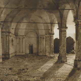 프라스카티 북쪽의 벨베데르 왕궁의 주랑