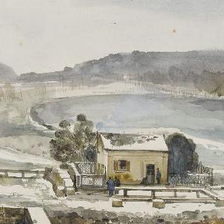 1843년 베르사유 궁전의 스위스 분수의 눈 내리는 광경