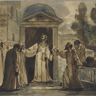 에우도레를 파문하는 성 마르슬랭 교황
