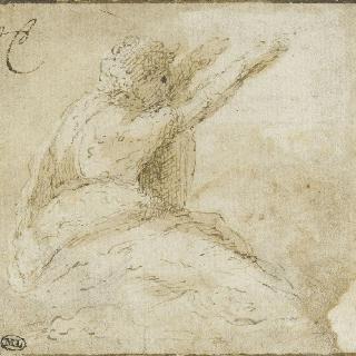 두 팔을 들고 주름진 옷을 입은 오른쪽을 향해 앉아있는 남자의 옆 모습
