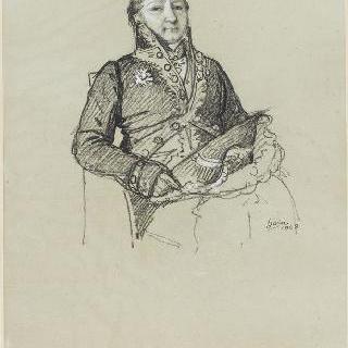 아카데미 회원복을 입고 앉아있는 샤브롤 볼빅 백작