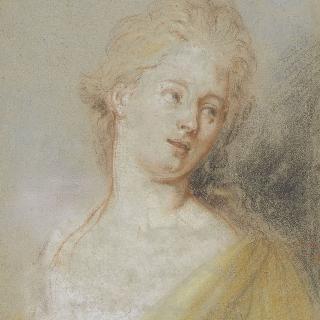 좌측을 바라보는 고개 숙인 젊은 여인의 초상