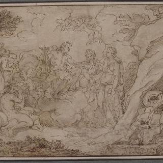 숲 속에서 두 요정들의 이야기하는 구름 위의 아폴로