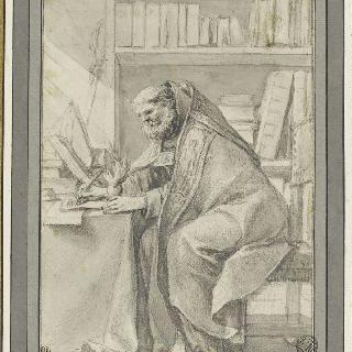 타오르는 가슴을 잡으며 글쓰는 앉아있는 성 오귀스탱