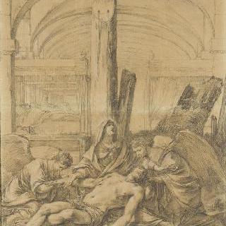 병원 앞 십자가의 발 밑에 두 명의 천사들에게 둘러싸인 동정의 성모