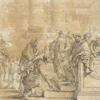 사도들에게 자신이 팔았던 대지의 평화를 도로 가져오는 수도자 바르나바스