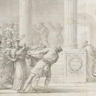 투석 형벌을 받으러 의회 밖으로 끌려가는 성 스테파노