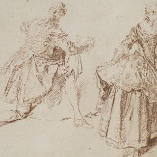 습작 종이 : 바닥에 무릎을 꿇은 남자, 두 팔을 벌리고 서 있는 여인