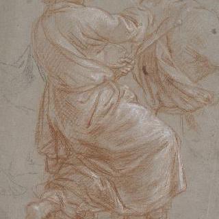 주름진 천을 두른 무릎꿇은 노인, 성 루가의 초상 습작
