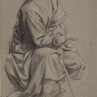 고개를 든 주름진 천을 두른 앉아있는 여인과 두상의 반복