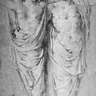 반쯤 주름진 천을 두른 두 개의 여인상기둥