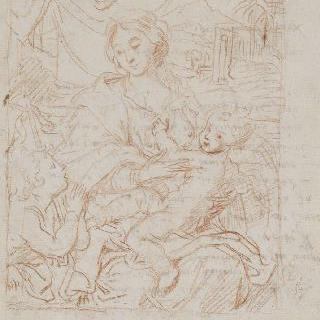 성모의 무릎 위의 아기 예수와 앉아있는 성모