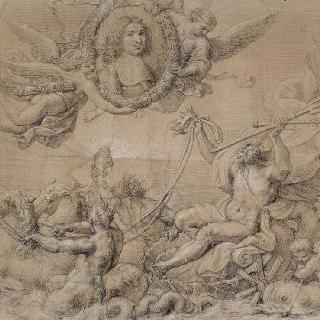 전차 위의 포세이돈과 원형저부조의 코베르 초상
