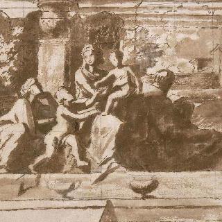 계단에 앉아있는 성 가족