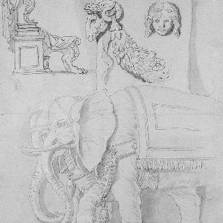 습작 종이 : 고대의 근거지, 제단과 두 마리의 코끼리