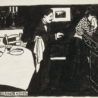 비상수단, 1897년경의 친밀함 연작의 목판화용 준비 데생