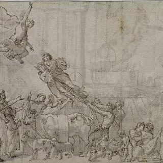 컨텐토 : 주피터가 메르쿠리우스에게 운명의 여신을 납치하라고 명하고 있다