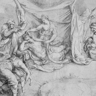 델로스 섬에서 아폴론과 다이아나를 낳고 있는 레토