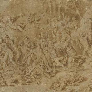 악인들을 쫓아내는 아폴론과 미네르바