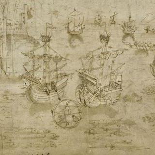 유리종에 설치된 바다에서 내린 알렉산더 대왕