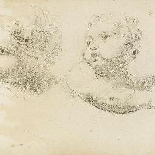 왼쪽 방향으로 몸을 돌린 여인의 얼굴과 아이의 상반신