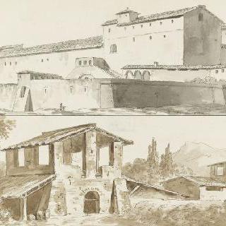수도원 대 건물과 평야의 기와굽는 가마
