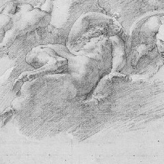구름 위에 누워 있는 목신과 주위의 네 명의 정령들 : 우의적 인물