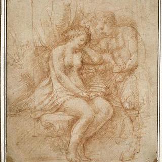 앉아서 잠이 들은 나체의 여자, 그 여자 근처에 사티로스가 서 있다