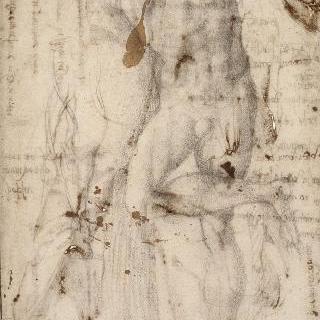 두 팔을 들고 서 있는 나체의 남자 습작과 다리 습작